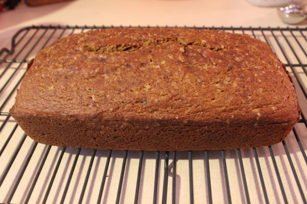 cinnamon pumpkin loaf, cooling on rack