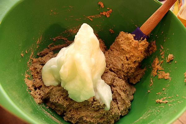 whipped egg whites added to batter