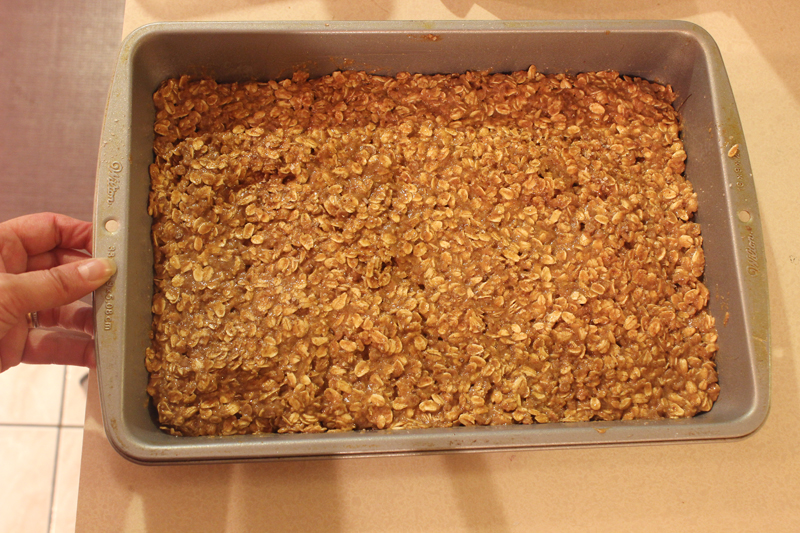 chewy oatmeal yogurt bars ready for the oven
