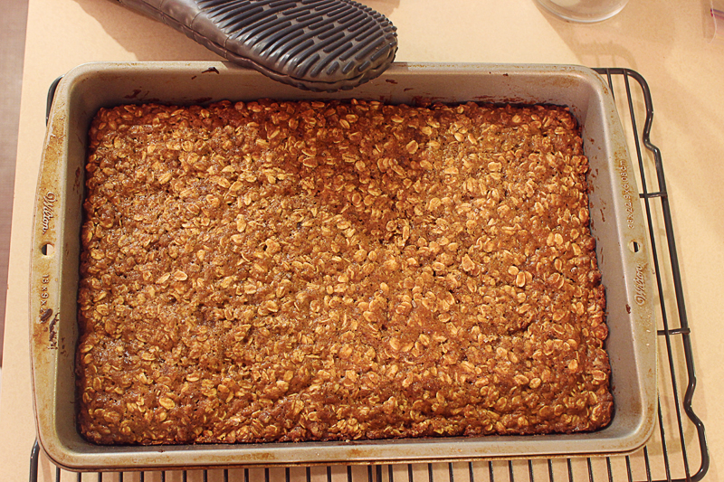 chewy oatmeal yogurt bars fresh out of the oven